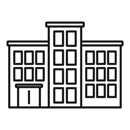 Mental hospital building icon. Outline mental hospital building vector icon for web design isolated on white background