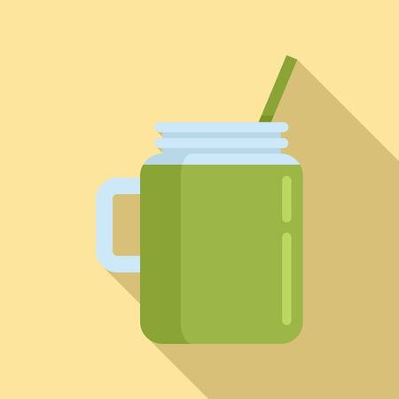 Celery smoothie icon. Flat illustration of celery smoothie vector icon for web design  イラスト・ベクター素材