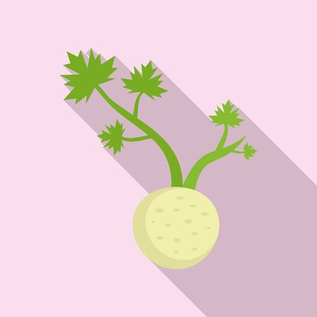 Fresh root celery icon. Flat illustration of fresh root celery vector icon for web design
