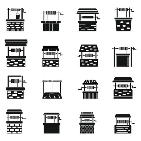 Water well farm icons set, simple style Vettoriali