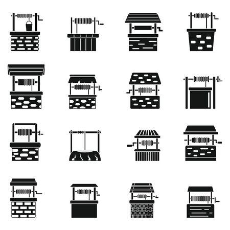 Water well farm icons set, simple style Vektorové ilustrace