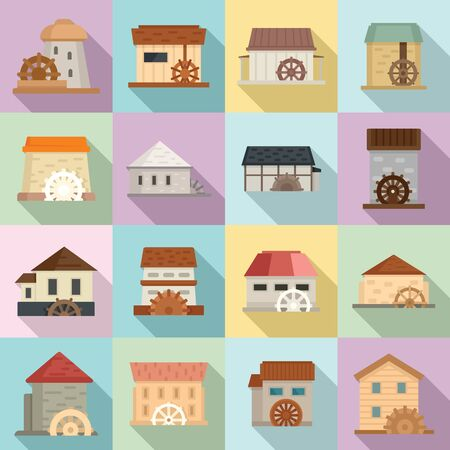 Water mill icons set. Flat set of water mill vector icons for web design Illustration