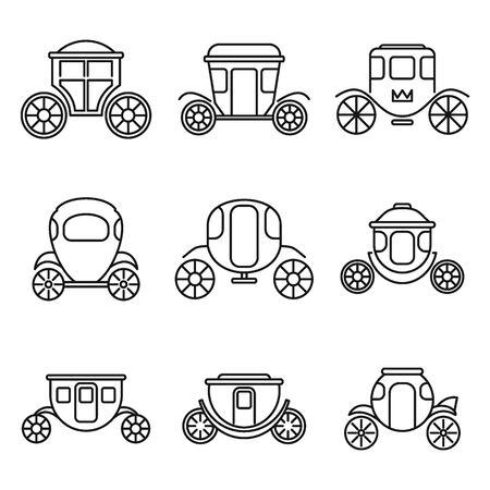 Brougham carriage icons set. Outline set of brougham carriage vector icons for web design isolated on white background Stock Illustratie