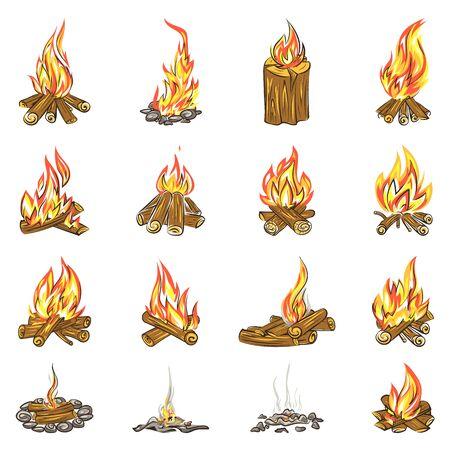 Campfire icons set, cartoon style Banco de Imagens - 142848448
