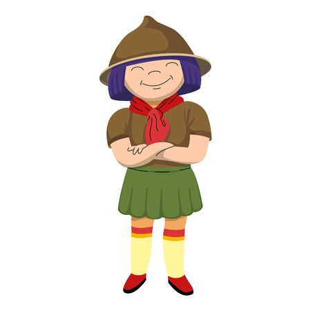 Smiling scout girl icon, cartoon style 向量圖像