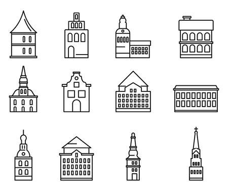 Riga Latvia icons set. Outline set of Riga Latvia vector icons for web design isolated on white background
