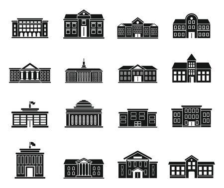 University building icons set. Simple set of university building vector icons for web design on white background Vetores
