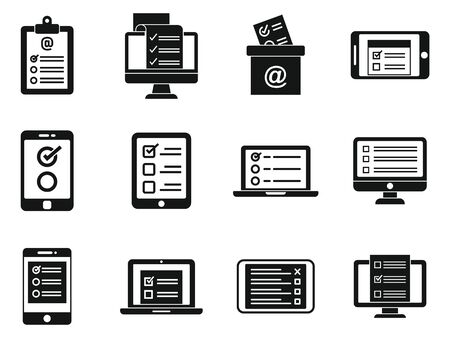 Online survey form icons set. Simple set of online survey form vector icons for web design on white background