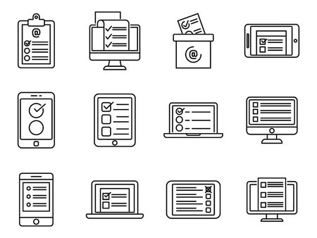 Online survey checklist icons set. Outline set of online survey checklist vector icons for web design isolated on white background