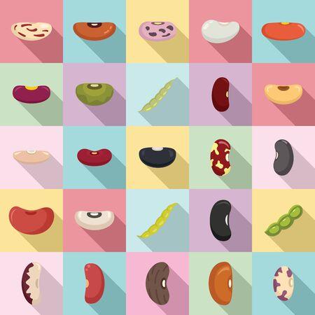 Kidney bean icons set, flat style