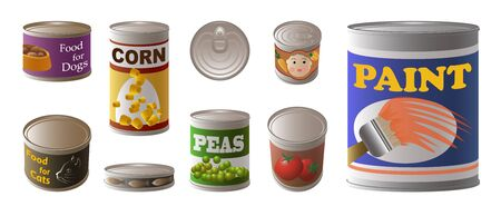 Tin can icons set, cartoon style