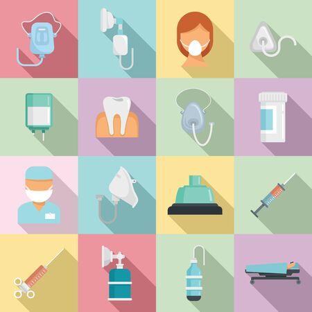 Anesthesia icons set, flat style 向量圖像
