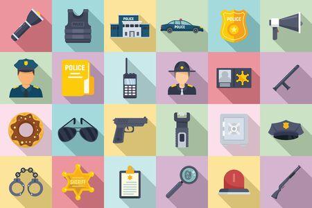 Police station icons set, flat style Vettoriali