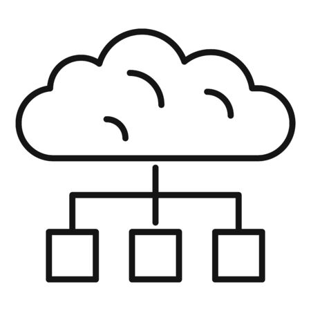 Cloud data hosting icon. Outline cloud data hosting vector icon for web design isolated on white background