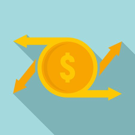 Coin money transfer icon. Flat illustration of coin money transfer vector icon for web design Иллюстрация