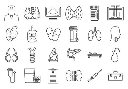 Endocrinologist doctor icons set, outline style