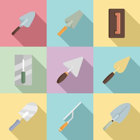Trowel icons set, flat style Vector Illustration