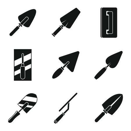 Construction trowel icons set, simple style
