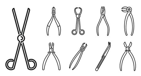 Clinic forceps icons set. Outline set of clinic forceps vector icons for web design isolated on white background