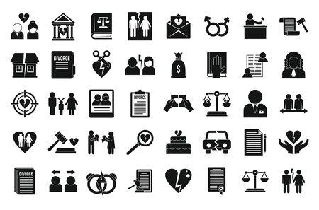 Divorce icons set. Simple set of divorce vector icons for web design on white background Illustration