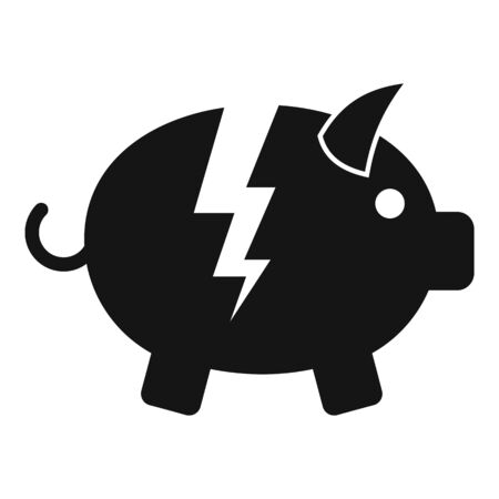 Bankrupt piggy bank icon. Simple illustration of bankrupt piggy bank vector icon for web design isolated on white background
