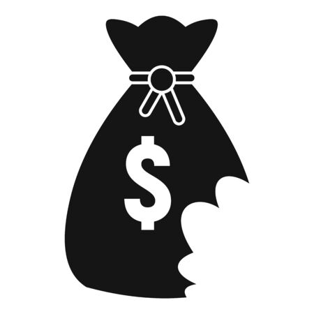 Money bag bankrupt icon. Simple illustration of money bag bankrupt vector icon for web design isolated on white background