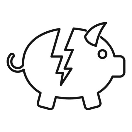 Bankrupt piggy bank icon. Outline bankrupt piggy bank vector icon for web design isolated on white background