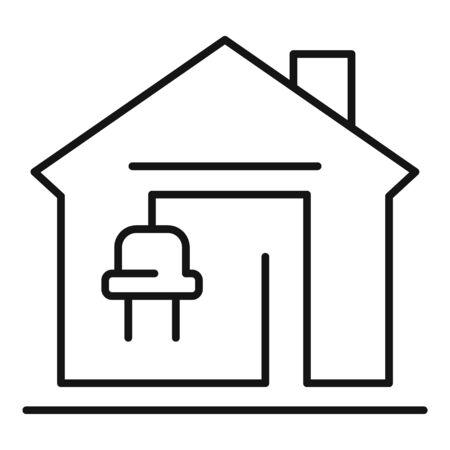 Autonomous home icon, outline style Ilustracja