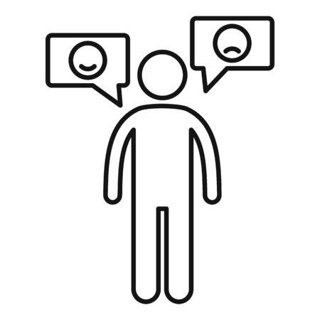Bipolar disorder icon. Outline bipolar disorder vector icon for web design isolated on white background