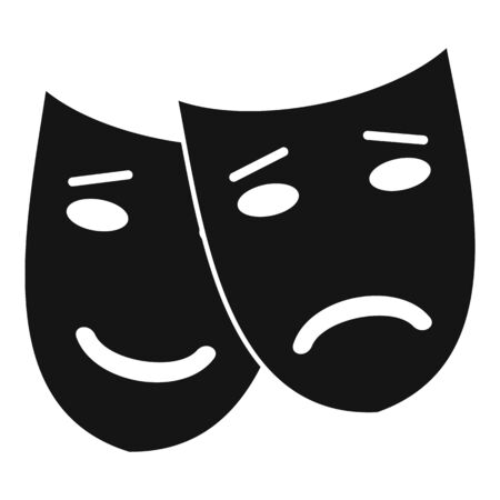Bipolar disorder mask icon. Simple illustration of bipolar disorder mask vector icon for web design isolated on white background