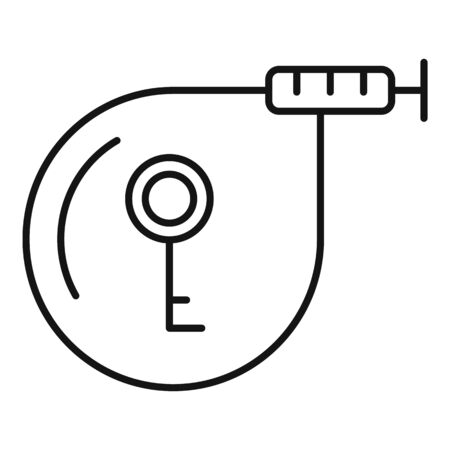 Unlock key bike rent icon, outline style