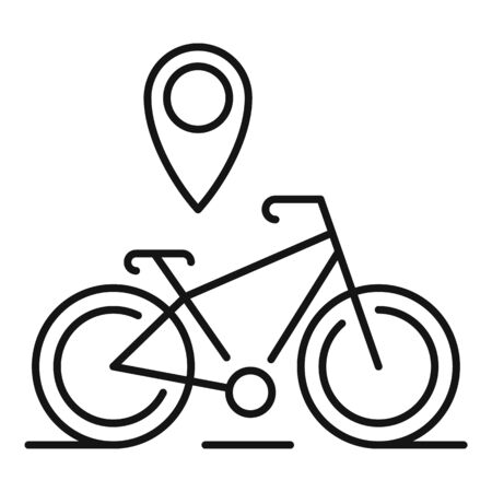 Gps pin bike location icon, outline style