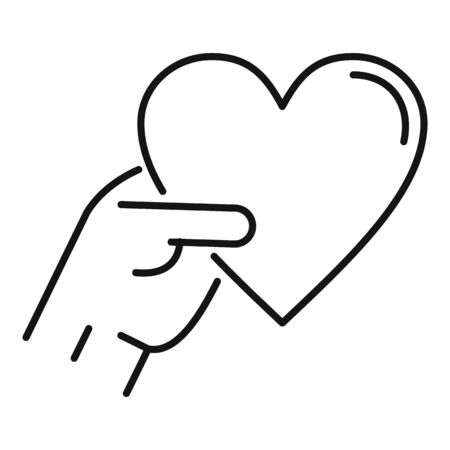 Take friend heart icon, outline style