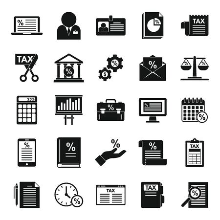 Tax regulation icons set, simple style