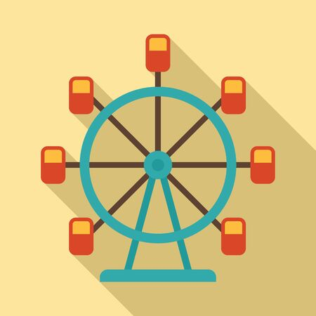 Ferris wheel icon, flat style Illustration