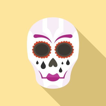 Mexican woman skull icon, flat style