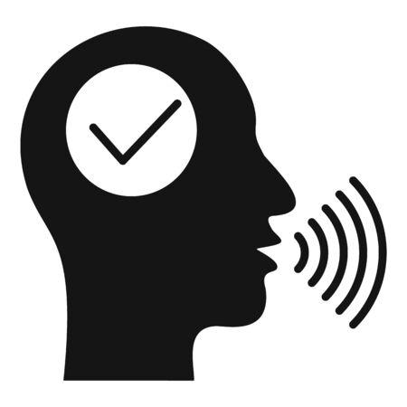 Approved voice recognition icon, simple style Ilustración de vector