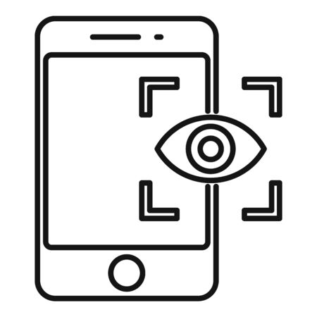 Phone eye authentication icon, outline style
