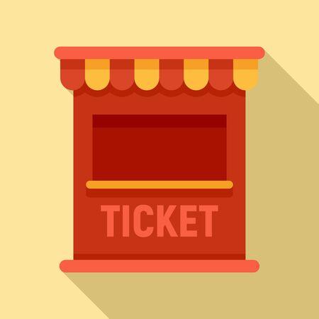 Ticket circus box icon. Flat illustration of ticket circus box vector icon for web design