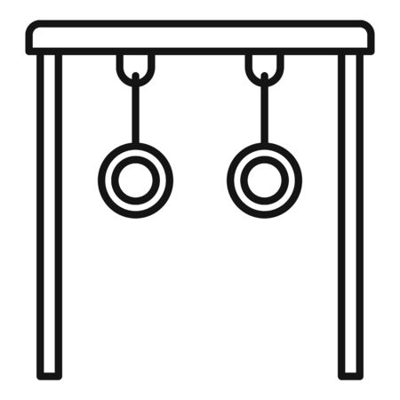 Gymnastic rings icon, outline style 矢量图像