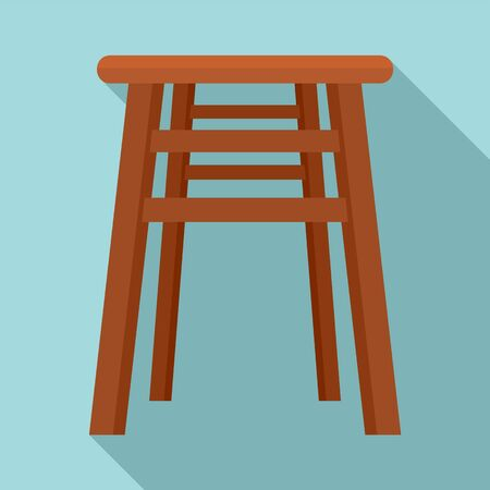 Backless chair icon, flat style Illustration