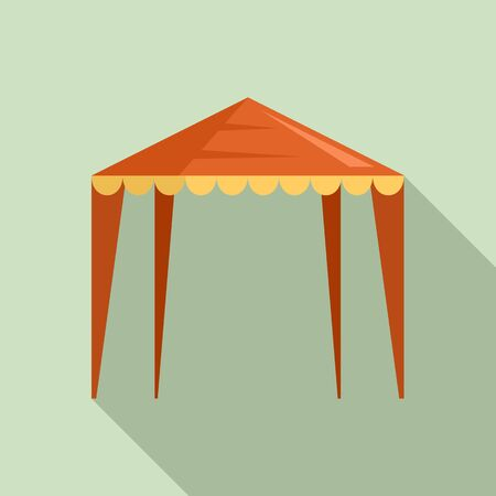 Outdoor house tent icon, flat style