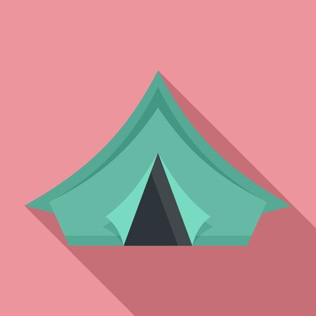 Camp tent icon. Flat illustration of camp tent vector icon for web design