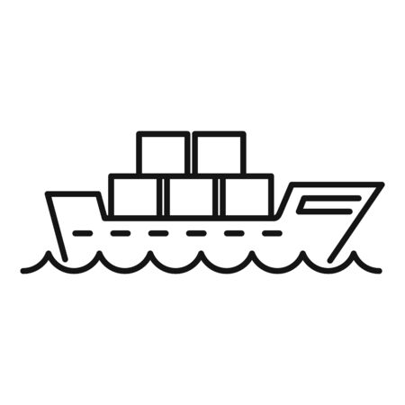 Cargo shipping icon. Outline cargo shipping vector icon for web design isolated on white background