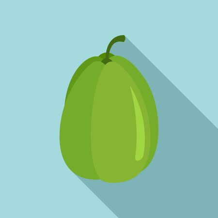 Green chayote plant icon, flat style