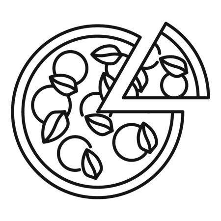 Restaurant pizza icon, outline style  イラスト・ベクター素材