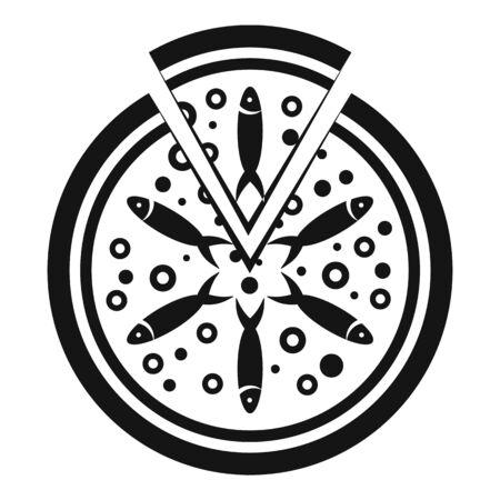 Fish tomato pizza icon, simple style