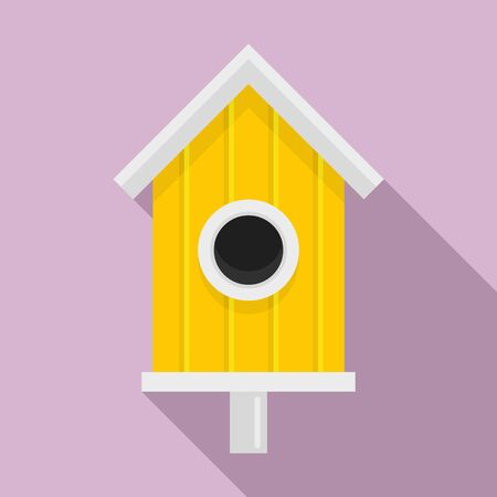New bird house icon, flat style
