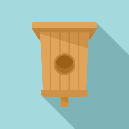 Box bird house icon. Flat illustration of box bird house vector icon for web design