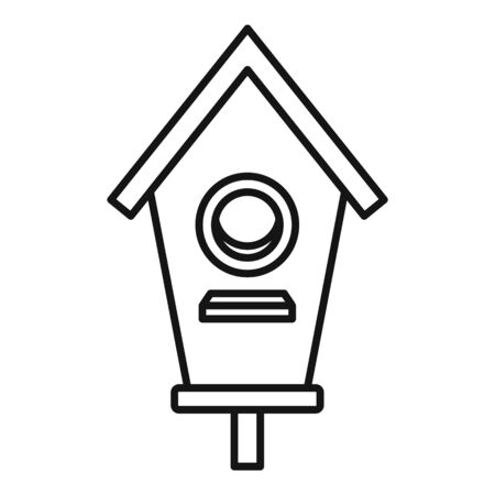 Double bird house icon, outline style